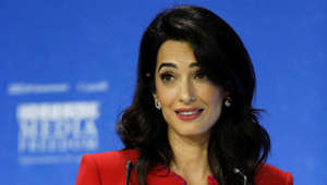 Human rights lawyer Amal Clooney speaks during the Global Conference for Media Freedom in London, Britain July 10, 2019. REUTERS/Peter Nicholls