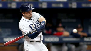 ST. PETERSBURG, FL - JUL 22: Travis d'Arnaud (37) of the Rays at bat during the MLB regular season game between the Boston Red Sox and the Tampa Bay Rays on July 22, 2019, at Tropicana Field in St. Petersburg, FL. (Photo by Cliff Welch/Icon Sportswire via Getty Images)