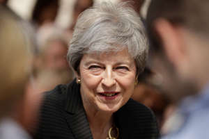 LONDON, ENGLAND - JULY 08: Britain's outgoing Prime Minister Theresa May meets military service personnel and their families at headquarters of Joint Forces Command on July 8, 2019 in Northwood, north west London. The base houses operations for British and NATO forces. (Photo by Matt Dunham - WPA Pool/Getty Images)