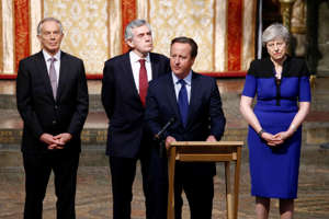LONDON, UNITED KINGDOM - JUNE 20: Britain's Former Prime Minister David Cameron speaks next to Theresa May, Gordon Brown and Tony Blair during a service of thanksgiving for Lord Heywood at Westminster Abbey on June 20, 2019 in London, England.Lord Jeremy Heywood of Whitehall GCB CVO served as Head of the Civil Service until shortly before his death in 2018. Former Prime Ministers, senior politicians, civil servants joined his family and friends at a service of thanksgiving for his life and work. (Photo by Henry Nicholls - WPA Pool/Getty Images)