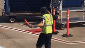 Airline employee gets his groove
