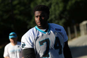 CHARLOTTE, NC - JUNE 04: Kendrick Norton (74) walks to the field during the Carolina Panthers OTA (Organized Training Activities) at the Carolina Panthers Training Facility on June 04, 2018 in Charlotte, NC.(Photo by John Byrum/Icon Sportswire via Getty Images)