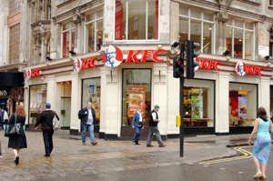Kentucky Friend Chicken (KFC) in London's Leicester Square.   (Photo by Ian West - PA Images/PA Images via Getty Images)
