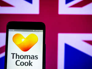 UKRAINE - 2019/03/28: In this photo illustration a Thomas Cook Group plc logo seen displayed on a smart phone. (Photo by Igor Golovniov/SOPA Images/LightRocket via Getty Images)