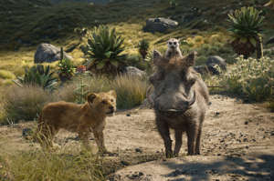 "This image released by Disney shows, from left, young Simba, voiced by JD McCrary, Timon, voiced by Billy Eichner, and Pumbaa, voiced by Seth Rogen, in a scene from ""The Lion King.""  (Disney via AP)"
