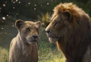 "This image released by Disney shows Nala, voiced by Beyoncé Knowles-Carter, left, and Simba, voiced by Donald Glover in a scene from ""The Lion King.""  (Disney via AP)"