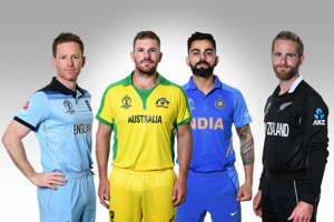 CAPTION: (EDITORS NOTE: COMPOSITE OF IMAGES - Image numbers 1151594489,1151806838,1151419982,1151487338) In this composite image a comparison has been made between the captains of the Semi Finalists of the ICC World Cup 2019 (L-R) Eoin Morgan of England,Aaron Finch of Australia ,Virat Kohli of India,Kane Williamson of New Zealand (Photo by IDI/IDI via Getty Images)