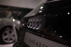 BOGOTA, COLOMBIA - NOVEMBER 11: An Audi A3 logo is seen on a vehicle during the International Motor Show Bogota 2018 at Corferias Convention Center on November 11, 2018 in Bogota, Colombia.  (Photo by Juancho Torres/Getty Images)