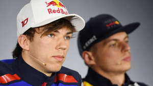 Red Bull's Dutch driver Max Verstappen (R) and Toro Rosso's French driver Pierre Gasly attend a press conference ahead of the Formula One Chinese Grand Prix in Shanghai on April 12, 2018.  / AFP PHOTO / GREG BAKER        (Photo credit should read GREG BAKER/AFP/Getty Images)