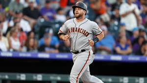 San Francisco Giants' Stephen Vogt circles the bases after hitting a solo hone run off Colorado Rockies starting pitcher Chi Chi Gonzalez in the fourth inning of a baseball game Monday, July 15, 2019, in Denver. (AP Photo/David Zalubowski)