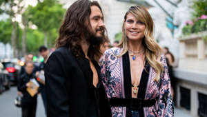 PARIS, FRANCE - JUNE 30: Couple Tom Kaulitz and Heidi Klum is seen outside Amfar dinner during Paris Fashion Week - Haute Couture Fall/Winter 2019/2020 on June 30, 2019 in Paris, France. (Photo by Christian Vierig/Getty Images)