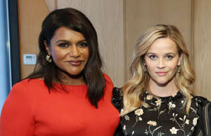 CAPTION: NEW YORK, NEW YORK - MAY 01: (L-R) Mindy Kaling, Reese Witherspoon, Zoe Kravitz and George Clooney pose for a photo during the Hulu '19 Presentation at Hulu Theater at MSG on May 01, 2019 in New York City. (Photo by Monica Schipper/Getty Images for Hulu)