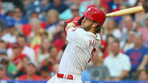 PHILADELPHIA, PA - JULY 16: Bryce Harper #3 of the Philadelphia Phillies hits a two-run home run against the Los Angeles Dodgers during the second inning of a baseball game at Citizens Bank Park on July 16, 2019 in Philadelphia, Pennsylvania. (Photo by Rich Schultz/Getty Images)