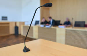 07 June 2019, Brandenburg, Frankfurt (Oder): View into a hearing room of the regional court. With the plea of defense, the trial for mistreatment of a little girl from Eberswalde who had died in the meantime was continued. A verdict is due on 12 June. Due to the maltreatment, the infant fell into a coma in October 2017. She died in April 2018. Photo: Patrick Pleul/dpa-Zentralbild/dpa (Photo by Patrick Pleul/picture alliance via Getty Images)