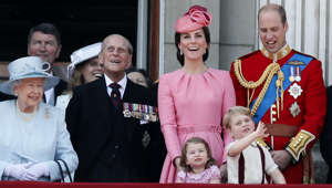 From left, Britain's Queen Elizabeth II, Prince Philip, the Duke of Edinburgh, Kate, The Duchess of Cambridge, Prince William and their children Princess Charlotte and Prince George, foreground appear on the balcony of Buckingham Palace, after attending the annual Trooping the Colour Ceremony in London, Saturday, June 17, 2017. (AP Photo/Kirsty Wigglesworth)