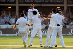 England's Graeme Swann celebrates taking the final Australian wicket to win the match on day four of the Second Investec Ashes Test at Lord's Cricket Ground, London.   (Photo by Anthony Devlin/PA Images via Getty Images)