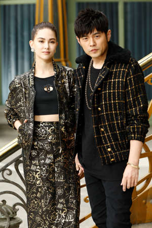 PARIS, FRANCE - MAY 03: (L-R) Hannah Quinlivan and Jay Chou attend the Chanel Cruise 2020 Collection : Photocall In Le Grand Palais on May 03, 2019 in Paris, France. (Photo by Julien M. Hekimian/Getty Images for Chanel)