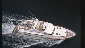Aerial view of the yacht, Mary J, in British Columbia, Canada.