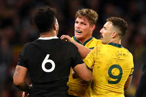 PERTH, AUSTRALIA - AUGUST 10: Ardie Savea of the All Blacks and Michael Hooper of the Wallabies exchange words during the 2019 Rugby Championship Test Match between the Australian Wallabies and the New Zealand All Blacks at Optus Stadium on August 10, 2019 in Perth, Australia. (Photo by Cameron Spencer/Getty Images)