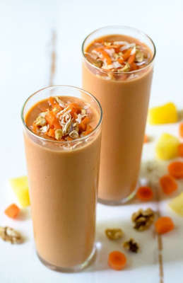 a cup of coffee: carrot cake smoothie