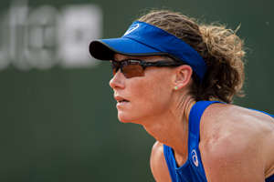 LAUSANNE, SWITZERLAND - JULY 18: Samantha Stosur of Australia looks on during WTA Ladies Open Lausanne at Tennis Club Stade-Lausanne on July 18, 2019 in Lausanne, Switzerland. (Photo by RvS.Media/Robert Hradil/Getty Images)