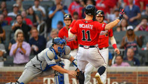 ATLANTA, GA  AUGUST 16:  Atlanta Braves outfielder Ender Inciarte (11) comes home safely after injuring his leg running the bases during the MLB game between the Los Angeles Dodgers and the Atlanta Braves on August 16th, 2019 at SunTrust Park in Atlanta, GA. (Photo by Rich von Biberstein/Icon Sportswire via Getty Images)