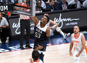 ANAHEIM, CA - AUGUST 16:   Donovan Mitchell #53 of the USA Men's National Team goes for a basket during the game against Spain at Honda Center on August 16, 2019 in Anaheim, California. (Photo by Jayne Kamin-Oncea/Getty Images)