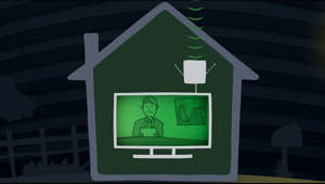a green sign with white text: Some local TV stations will be changing their over-the-air broadcast frequencies. If you watch TV with an antenna, you will need to rescan your TV when this happens. This video will show you how to do it and where to get help if you need it.