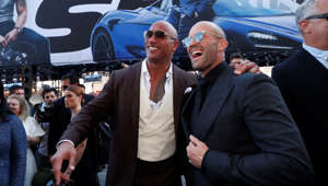 "Cast members Dwayne Johnson and Jason Statham arrive at the premiere for ""Fast & Furious Presents: Hobbs & Shaw"" in Los Angeles, California, U.S., July 13, 2019."