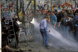 The Berlin Wall opening in Berlin, Germany on November, 1989