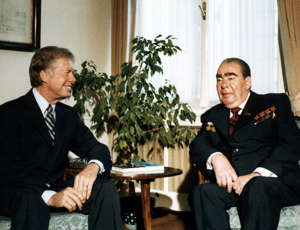During the Cold War, Soviet Russian, President Leonid Brezhnev with US President Jimmy Carter. Attending the Vienna strategic arms limitation treaty talks (SALT II), in 1979