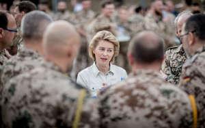 German Defence Minister Ursula von der Leyen talks to troops