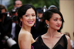 FRANCE - MAY 23:  59th Cannes Film Festival : stairs of 'Babel' in Cannes, France on May 23, 2006-Cast of the film 'The Banquet' : actresses Zhang Ziyi and Zhou Xun. Zhang Ziyi dressed by Giorgio Armani.  (Photo by Pool BENAINOUS/CATARINA/LEGRAND/Gamma-Rapho via Getty Images)