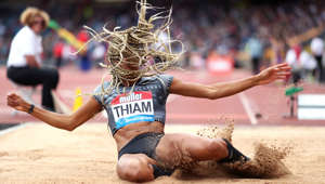 Belgium's Nafissatou Thiam in the Women's Long Jump during the Muller Grand Prix Birmingham at The Alexander Stadium, Birmingham. (Photo by David Davies/PA Images via Getty Images)