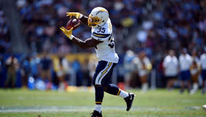 Los Angeles Chargers running back Troymaine Pope (35) makes a catch against the New Orleans Saints during the first half of a preseason NFL football game Sunday, Aug. 18, 2019, in Carson, Calif. (AP Photo/Kelvin Kuo )