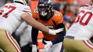 Denver Broncos outside linebacker Bradley Chubb (55) lines up against the San Francisco 49ers during an NFL preseason football game, Monday, Aug. 19, 2019, in Denver. (AP Photo/Jack Dempsey)