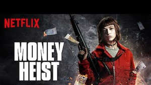 a person holding a sign: The professor recuits a young female robber and seven other criminals for a grand heist, targeting the Royal Mint of Spain.  Watch Money Heist - Part 1 on Netflix: https://www.netflix.com/title/80192098