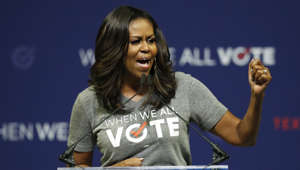 Former first lady Michelle Obama speaks at a rally to encourage voter registration on Friday, Sept. 28, 2018, in Coral Gables, Fla. (AP Photo/Brynn Anderson)