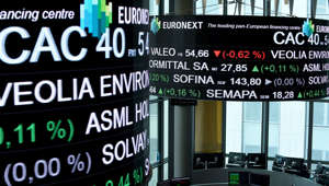 A picture taken with a zoom effect shows the CAC 40 amongst stock tickers displayed at the headquarters of the Pan-European stock exchange Euronext in La Defense district, near Paris, on April 27, 2018. (Photo by ERIC PIERMONT / AFP)        (Photo credit should read ERIC PIERMONT/AFP/Getty Images)