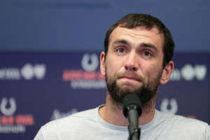 Indianapolis Colts quarterback Andrew Luck speaks during a news conference following the team's NFL preseason football game against the Chicago Bears, Saturday, Aug. 24, 2019, in Indianapolis. The oft-injured star is retiring at age 29. (AP Photo/Michael Conroy)