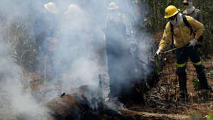 Firefighters put out fires in the Vila Nova Samuel region, along the road to Jacunda National Forest near the city of Porto Velho, Rondonia state, part of Brazil's Amazon, Sunday, Aug. 25, 2019. Leaders of the Group of Seven nations said Sunday they were preparing to help Brazil fight the fires burning across the Amazon rainforest and repair the damage even as tens of thousands of soldiers were being deployed to fight the blazes that have caused global alarm. (AP Photo/Eraldo Peres)