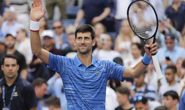 Slide 1 of 60: Novak Djokovic, of Serbia, reacts after beating Roberto Carballes Baena, of Spain, during the first round of the US Open tennis tournament Monday, Aug. 26, 2019, in New York. (AP Photo/Frank Franklin II)