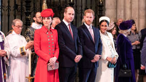 Britain's Prince Harry and Meghan, Duchess of Sussex stand with Kate, Duchess of Cambridge and Britain's Prince William at Westminster Abbey for a Commonwealth Day service in London, Britain March 11, 2019. Richard Pohle/Pool via REUTERS