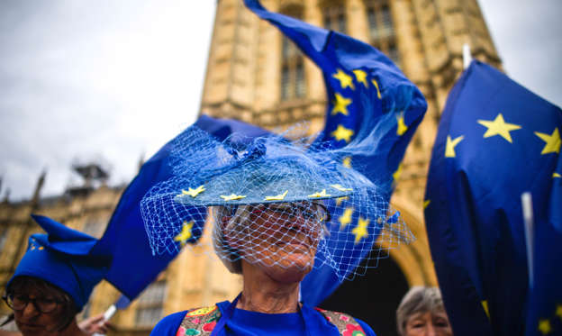 Slide 1 of 54: LONDON, ENGLAND - AUGUST 28: Pro-EU supporters protest outside the Houses of Parliament on August 28, 2019 in London, England. British Prime Minister Boris Johnson has written to Cabinet colleagues telling them that his government has requested the Queen suspend parliament for longer than the usual conference season. Parliament will return for a new session with a Queen's Speech on 14 October 2019. Some Remain supporting MPs believe this move to be a ploy to hinder legislation preventing a No Deal Brexit. (Photo by Peter Summers/Getty Images)