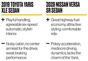 a close up of a newspaper: Versa vs. Yaris: Subcompact Sedan Battle