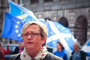 Joanna Cherry, Scottish National Party (SNP) MP speaks to the press outside the Court Of Session in Edinburgh, Scotland