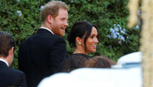 The Duke and Duchess of Sussex, Prince Harry and his wife Meghan arrive to attend the wedding of fashion designer Misha Nonoo at Villa Aurelia in Rome, Italy, September 20, 2019.