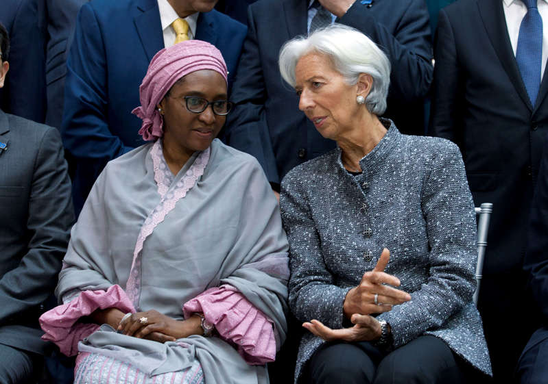 File Photo-International Monetary Fund (IMF) Managing Director Christine Lagarde speaks with Nigeria's Finance Minister Zainab Ahmed, during the International Monetary Fund IMF Governors group