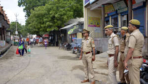 GHAZIABAD, INDIA - SEPTEMBER 14: Police keep vigil at Bamheta village, on September 14, 2019 in Ghaziabad, India. The Ghaziabad officials have deployed police as well as PAC at Bamheta village where there was tension between two groups following a road rage incident in August. (Photo by Sakib Ali/Hindustan Times)
