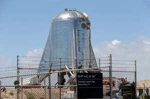 The 'Starhopper' Starship prototype at the SpaceX facility in Boca Chica, near Brownsville, Texas.